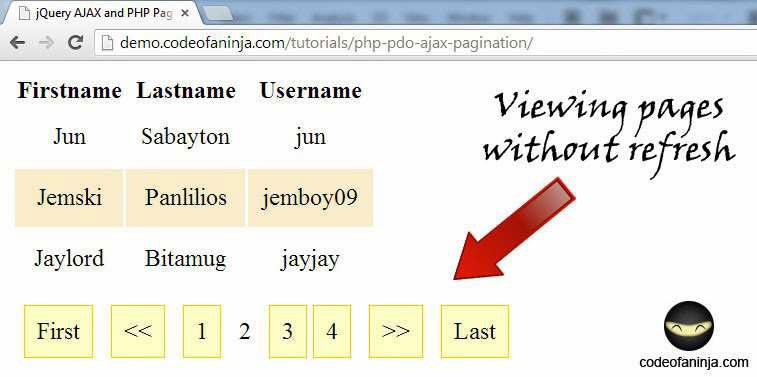 Paginating Your Data with jQuery AJAX and Awesome PHP Pagination Class