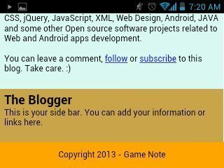 Footer screenshot from my smartphone in landscape mode.
