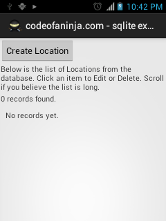 android sqlite tutorial main screen.