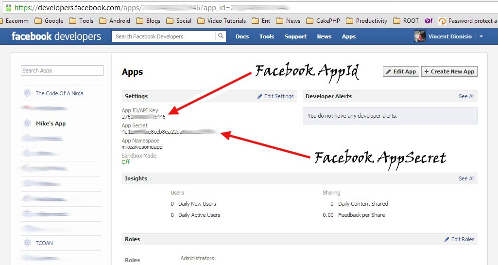 Your Facebook appId and appSecret keys.