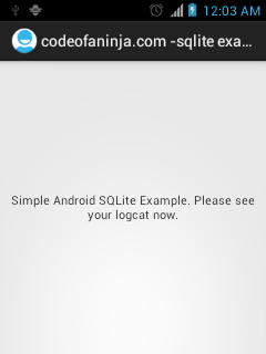 quick android sqlite database example