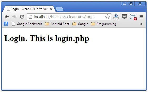 login page clean url