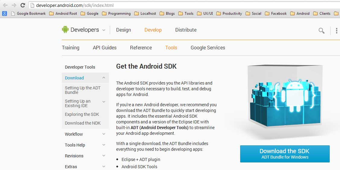 "Click the blue button ""Download the SDK"""