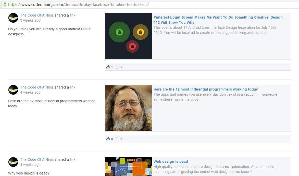 display facebook page feed on website - demo screenshot