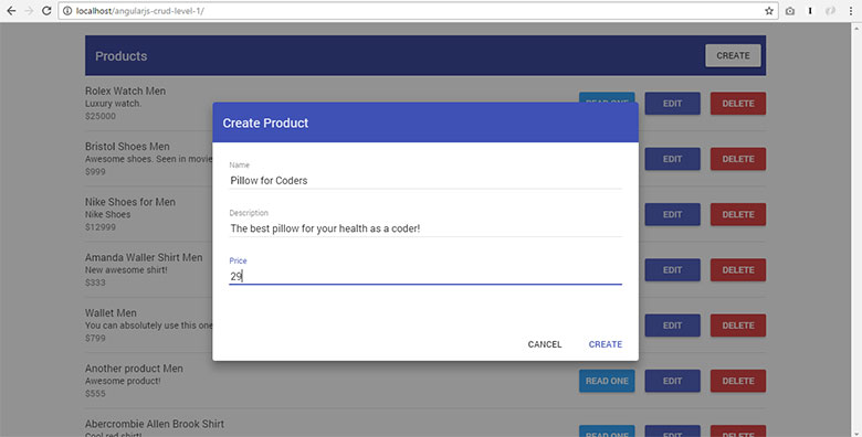 Angularjs Crud Example With Material Design Step By Step Guide